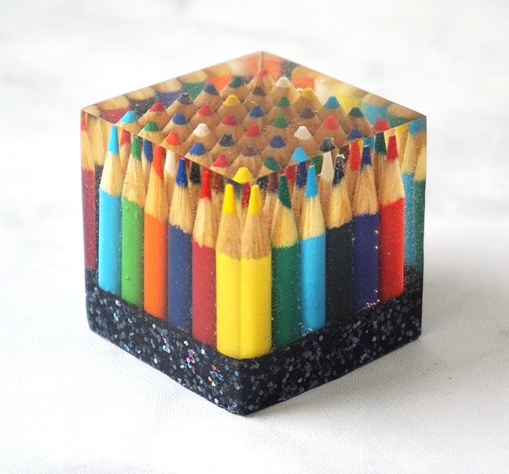 Resin Colored Pencil Paperweight