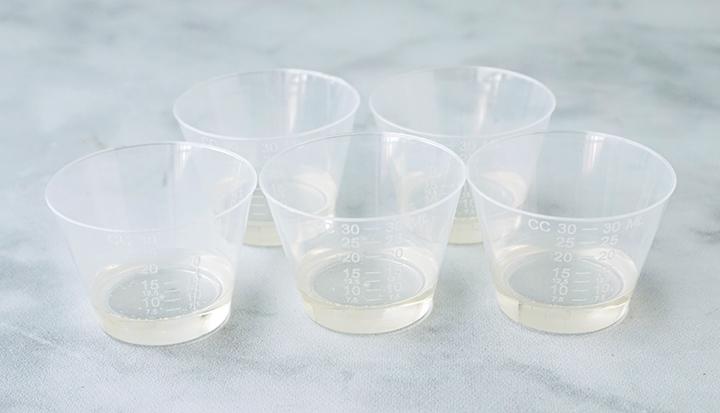 Easycast resin in mixing cups